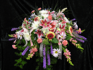 Casket Spray 7 Bright, Vibrant Colored Funeral Flowers [0007