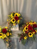Vibrant Sunflowers and Red Roses